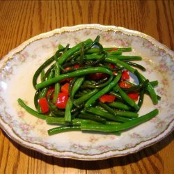 SAUTE OF GARLIC SCAPES & GREEN BEANS recipe