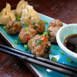 Steamed Pork Balls and Spring Onions ( Green Onions) recipe