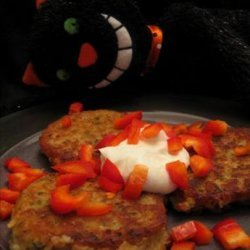 Fava Bean Cakes With Diced Red Peppers and Yogurt recipe