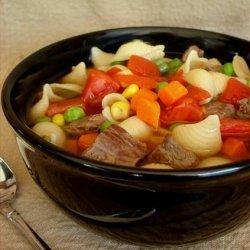 Beef and Pasta Confetti Soup recipe