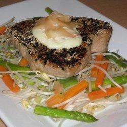 Teriyaki Tuna With Wasabi Mayonnaise and Pickled Ginger recipe
