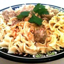 Swedish Meatballs in Sour Cream Sauce over Buttered Egg Noodles recipe