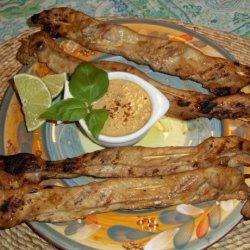 Grilled Pork Skewers With Peanut-Basil Sauce recipe