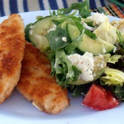 Almond Crumbed Chicken Schnitzel With Avocado Salad recipe