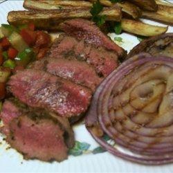 Cowboy Coffee Rubbed Steak W/Fresh Chopped Veggie Salad recipe