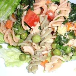 Easy Salmon Brown Rice Pasta Salad recipe