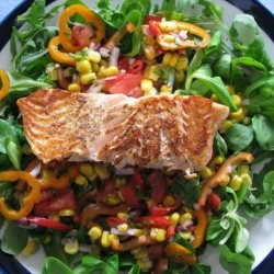 Fragrant Salmon and Sesame Corn Salad recipe