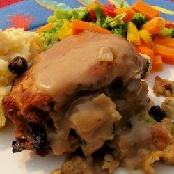 Baked Stuffed Pork Chops and Pan Gravy recipe