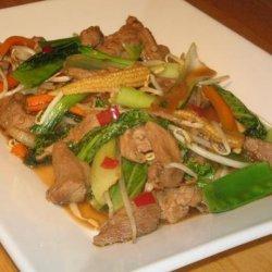 Char Siu Pork Corn and Bok Choy Stir Fry recipe