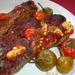 Pork Ribs With Garlic, Chilies and Tomato recipe