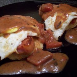 Fried Grit Cakes With Eggs and Tomato Gravy recipe