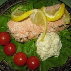 Poached Salmon With Lemon Mayonnaise recipe