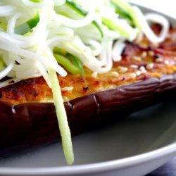 Miso Aubergine With Cucumber Noodles recipe