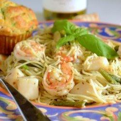 Shrimp and Scallops With Pesto Pasta recipe