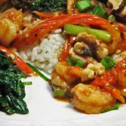 Spicy Shrimp With Spinach and Walnuts recipe