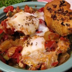 Ratatouille With Poached Eggs and Garlic Croutons recipe