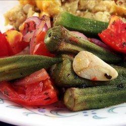 Roasted Okra, Tomatoes & Garlic recipe