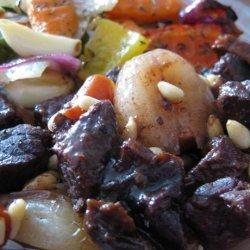 Beef With Red Wine and Pine Nuts recipe