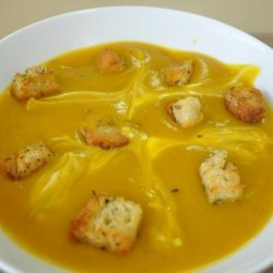Roasted Butternut Squash Soup With Crispy Croutons recipe