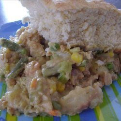 Pot Pie Casserole With a Biscuit Topping. recipe