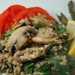 Robin's Quinoa with Mushrooms and Spinach recipe