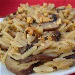 Orzo with Mushrooms and Walnuts recipe