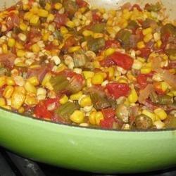 Okra, Corn and Tomatoes recipe