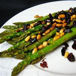 Asparagus with Cranberries and Pine Nuts recipe