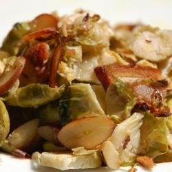 Shaved Brussels Sprouts with Bacon and Almonds recipe