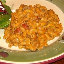 Macaroni and Cheese with Ground Beef, Salsa and Green Chiles recipe