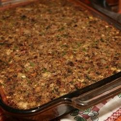 Sausage, Bacon, Apple and Cornbread Stuffing recipe