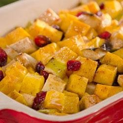 Becel(R) Holiday Butternut Squash with Apple and Cranberries recipe