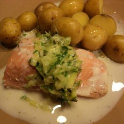 Poached Salmon With Cucumber Sauce recipe