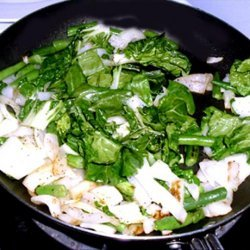 Baby Bok Choy Stir Fry With Beans & Onions recipe
