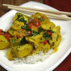 Thai Yellow Chicken Curry With Potatoes and Tomatoes recipe