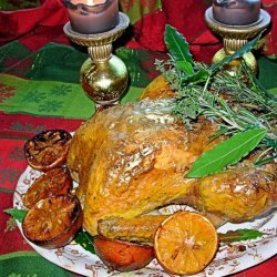 Gilded Saffron and Butter Basted Roast Turkey With Herb Garland recipe