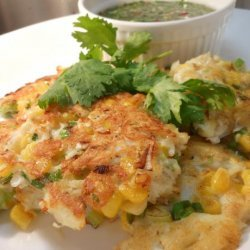 Crab & Corn Cakes With Coriander Dipping Sauce recipe