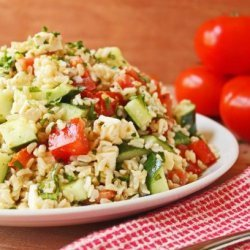 Tomato Basil Cucumber Salad With Feta Cheese and Brown Rice recipe