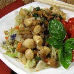 Stir-Fried Scallops With Fresh Basil recipe