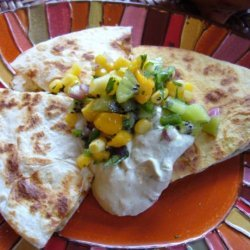 Chicken Quesadillas With Fruit Salsa and Avocado Cream recipe