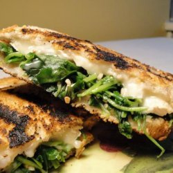 Grilled Brie Sandwiches With Greens and Garlic recipe