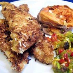Coconut Chicken With Mango Salsa, Cinnamon Butter Sweet Potatoes recipe