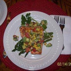 Grilled Salmon With Corn, Tomato, and Avocado Relish recipe