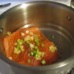 Steamed Salmon With Soy Glaze recipe