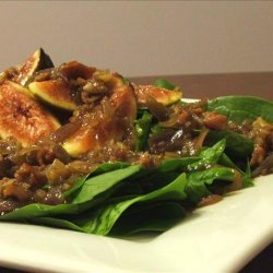 Warm Spinach, Fig, and Prosciutto Salad with Honey Balsamic Vina recipe