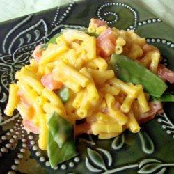 Cheesy Mac With Snow Peas & Tomatoes recipe
