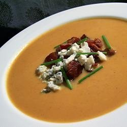 Velvety Pumpkin Soup With Blue Cheese and Bacon recipe