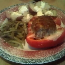 Meatloaf Stuffed Red Peppers recipe
