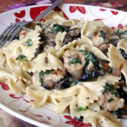 Creamy Pasta With Mushrooms, Spinach, and Peas recipe