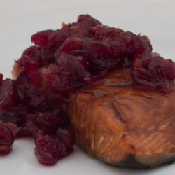 Cedar Planked Fresh Salmon Fillet With Spiced Cranberry Relish recipe
